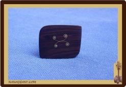 Real Ebony ring Black wood ref 1405