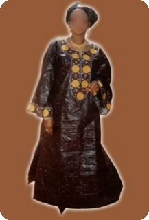 Robe africaine (boubou) longue, manches longues - bazin (super riche) Ref 5001