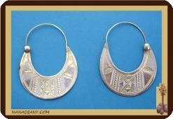 African tuareg silver earrings Mali Africa ethnic jewel ref 4001