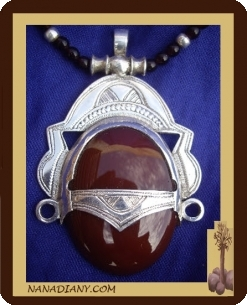 tuareg silver and agate necklace