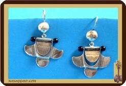 African tuareg silver earrings Mali Africa ethnic jewel ref 4002