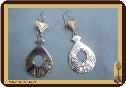 African tuareg silver earrings Mali Africa ethnic jewel ref 4005