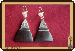 Tuareg earrings (silver and ebony)Ref 4508