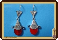 Tuareg  Ohrringe (Silber/Glasperle)  Ref: 4600